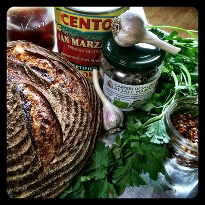 puttanesca sauce recipe, country sourdough bread, organic, stella bread, bread share, bozeman, montana, locally made,